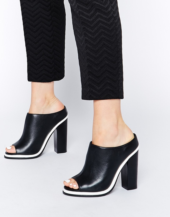 Faith Cannon Leather High Heeled Mule Sandals 107 Asos