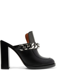 Givenchy Chain Trimmed Leather Mules Black