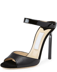 Jimmy Choo Deckle Double Band Leather Slide Black