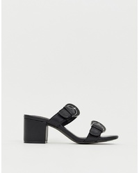 Eeight E8 By Miista Black Leather Mid Block Heel Detail Sandals