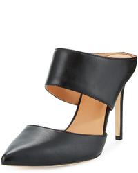 Halston Heritage Isabella Leather Pointed Toe Mule Black