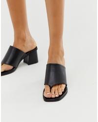 ASOS DESIGN Hold Up Premium Leather Block Heeled Sandals In Black