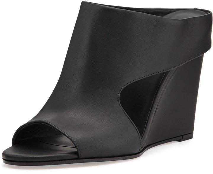 dba7776bb95 ... Vince Kaya Leather Wedge Mule Slide Black ...