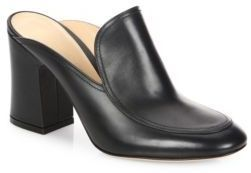 Gianvito Rossi Leather Block Heel Mules
