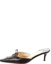 Chanel Leather Cap Toe Mules