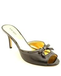 Nine West Goodare Black Peep Toe Leather Mules Heels Shoes Uk 7