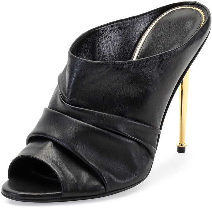 1df9206f60be ... Tom Ford Ruched Leather High Heel Mule Black ...