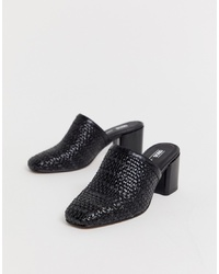 ASOS DESIGN Sancho Woven Heeled Mules In Black