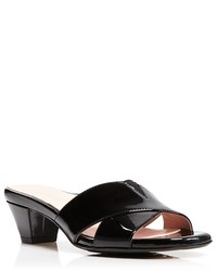 Taryn Rose Slide Sandals Cross Band Mid Heel