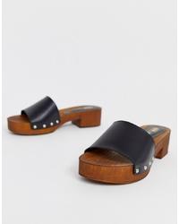 ASOS DESIGN Transit Leather Heeled Mule Sandal In Black