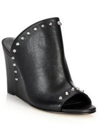 Stuart Weitzman Upfrontal Studded Leather Wedge Mules