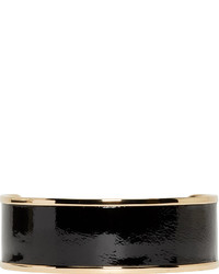 Balmain Black Leather Gold Metal Choker