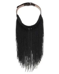 Brunello Cucinelli Brass Leather Fringe Necklace