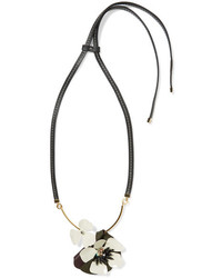 Marni Gold Tone Crystal Leather And Resin Necklace Black