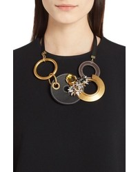 Marni Strass Leather Brass Crystal Statet Necklace