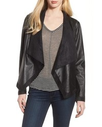Black Leather Open Jacket