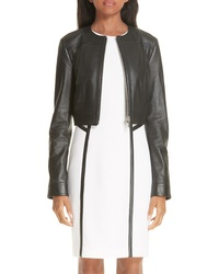 Michael Kors Crop Plonge Leather Jacket