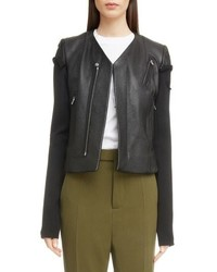 Rick Owens V Neck Leather Biker Jacket