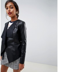 Oasis Waterfall Front Faux Leather Jacket In Black
