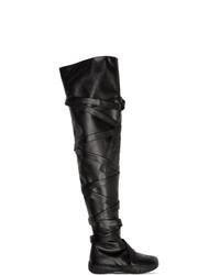 Maison Margiela Black Tabi Low Thigh High Boots