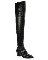 Altuzarra Callie Croc Embossed Leather Over The Knee Boots
