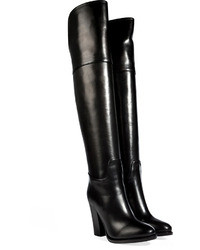 Ralph Lauren Collection Polished Leather Over The Knee Boots In Black