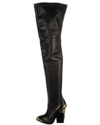 Versace Leather Over The Knee Boots