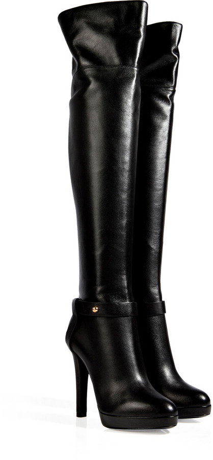 Sergio Rossi Leather Over The Knee Platform Boots In Black | Where ...