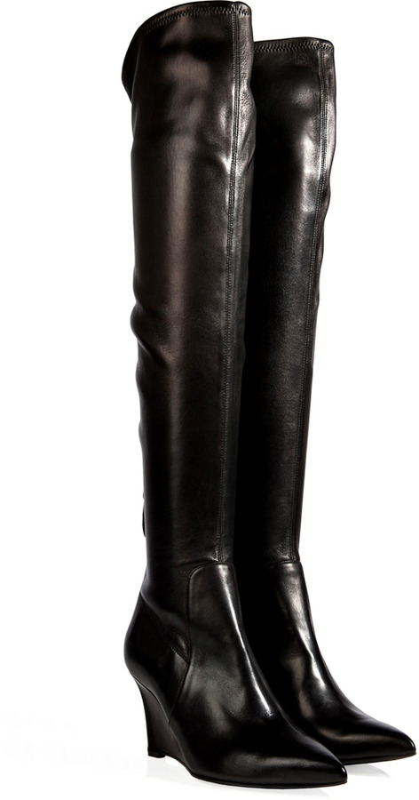 Sergio Rossi Leather Over The Knee Wedge Boots In Black | Where to ...