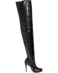 the best attitude 5738d bcb00 Women's Black Leather Over The Knee Boots by Christian ...