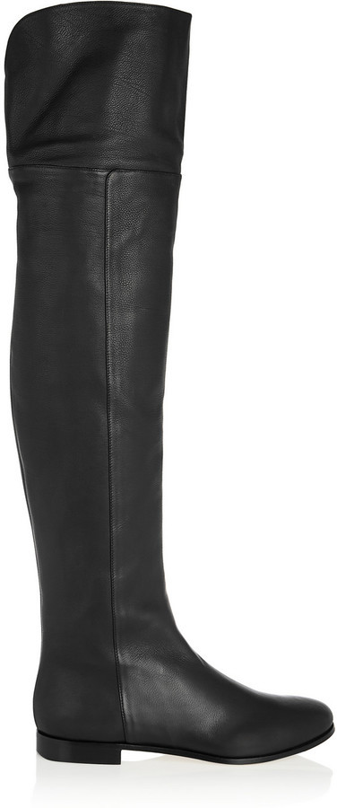 e6146ec9ec8 ... Jimmy Choo Mitty Textured Leather Over The Knee Boots Black ...