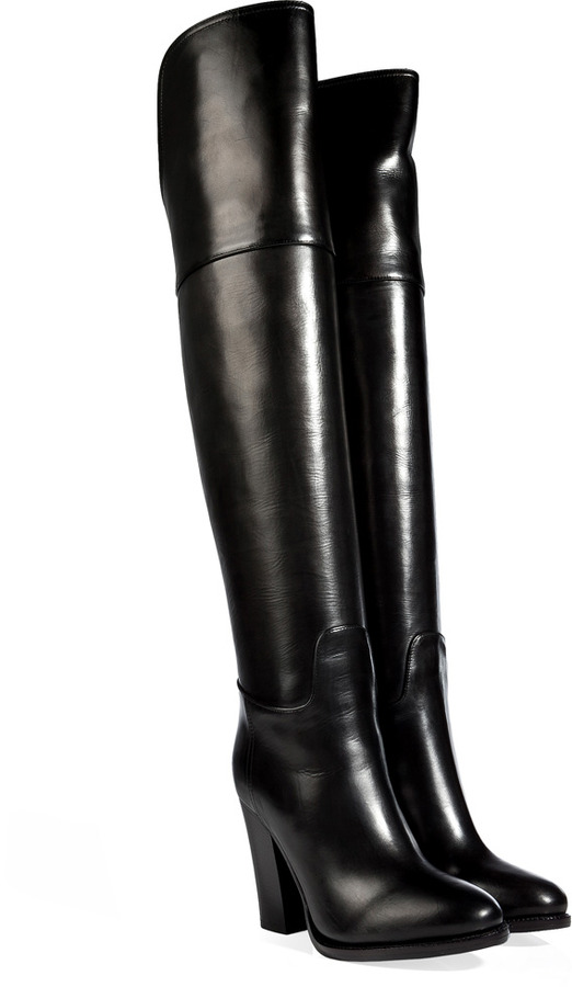 Over The Knee Black Leather Boots - Boot 2017