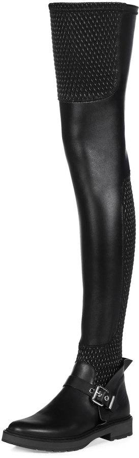 af2dc9bd37d Fendi Smocked Leather Over The Knee Biker Boot Nero