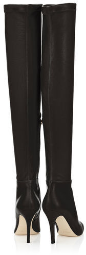 c22efe418bf Jimmy Choo Toni Black Calf Leather And Stretch Nappa Over The Knee Boots