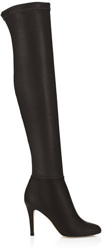 234370cd833 ... Jimmy Choo Toni Black Calf Leather And Stretch Nappa Over The Knee Boots  ...