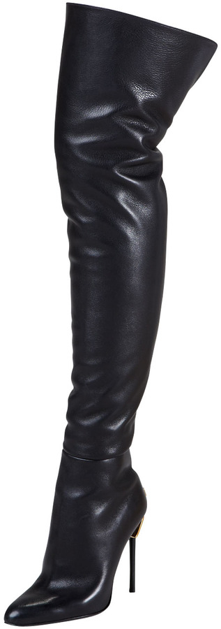 5243c40ec936 Tom Ford Zipper Heel Over The Knee Leather Boot, $1,990 | Bergdorf ...