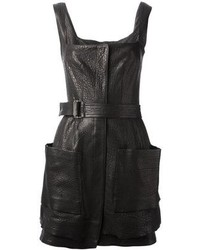 Alexander McQueen Leather Pinafore Style Dress