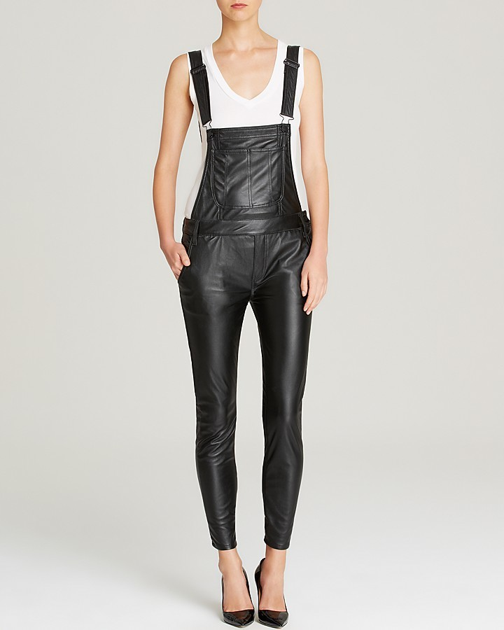 c7567db302c ... Black Orchid Overalls Skinny Faux Leather ...