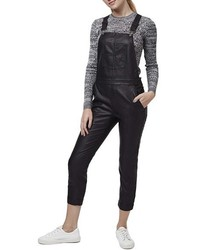 Topshop Skinny Faux Leather Overalls