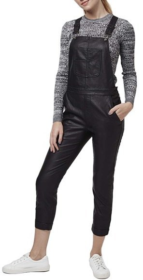 249e3f55b41 ... Topshop Skinny Faux Leather Overalls ...