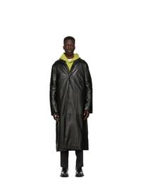 Acne Studios Black Leather Insulated Coat