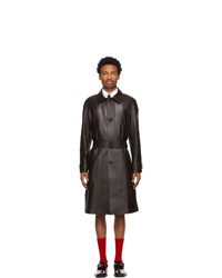 Ernest W. Baker Brown Leather Raglan Coat
