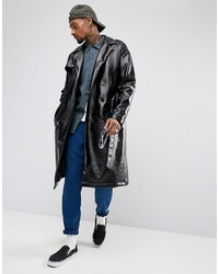 Asos Oversized Vinyl Trench Coat In Black
