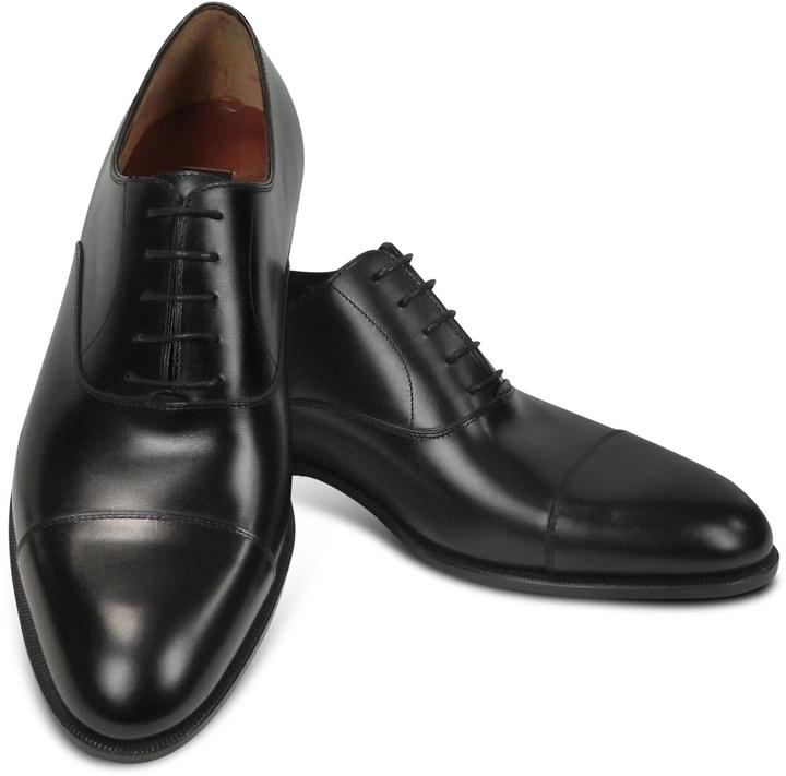 98dd5829a92a1 ... Fratelli Rossetti Black Calf Leather Cap Toe Oxford Shoes ...
