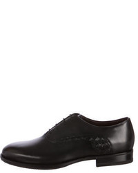 Bottega Veneta Intrecciato Trimmed Leather Oxfords