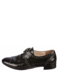 Prada Leather Round Toe Oxfords