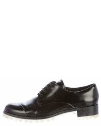 Miu Miu Leather Round Toe Oxfords