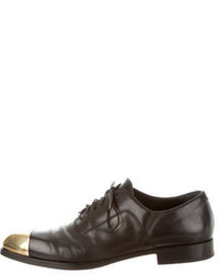 Alexander McQueen Metallic Trimmed Leather Oxfords