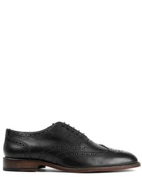 Topman Black Leather Oxford Shoes