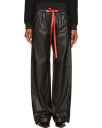 Alexander Wang Black Leather Wide Leg Contrast Drawstring Pants